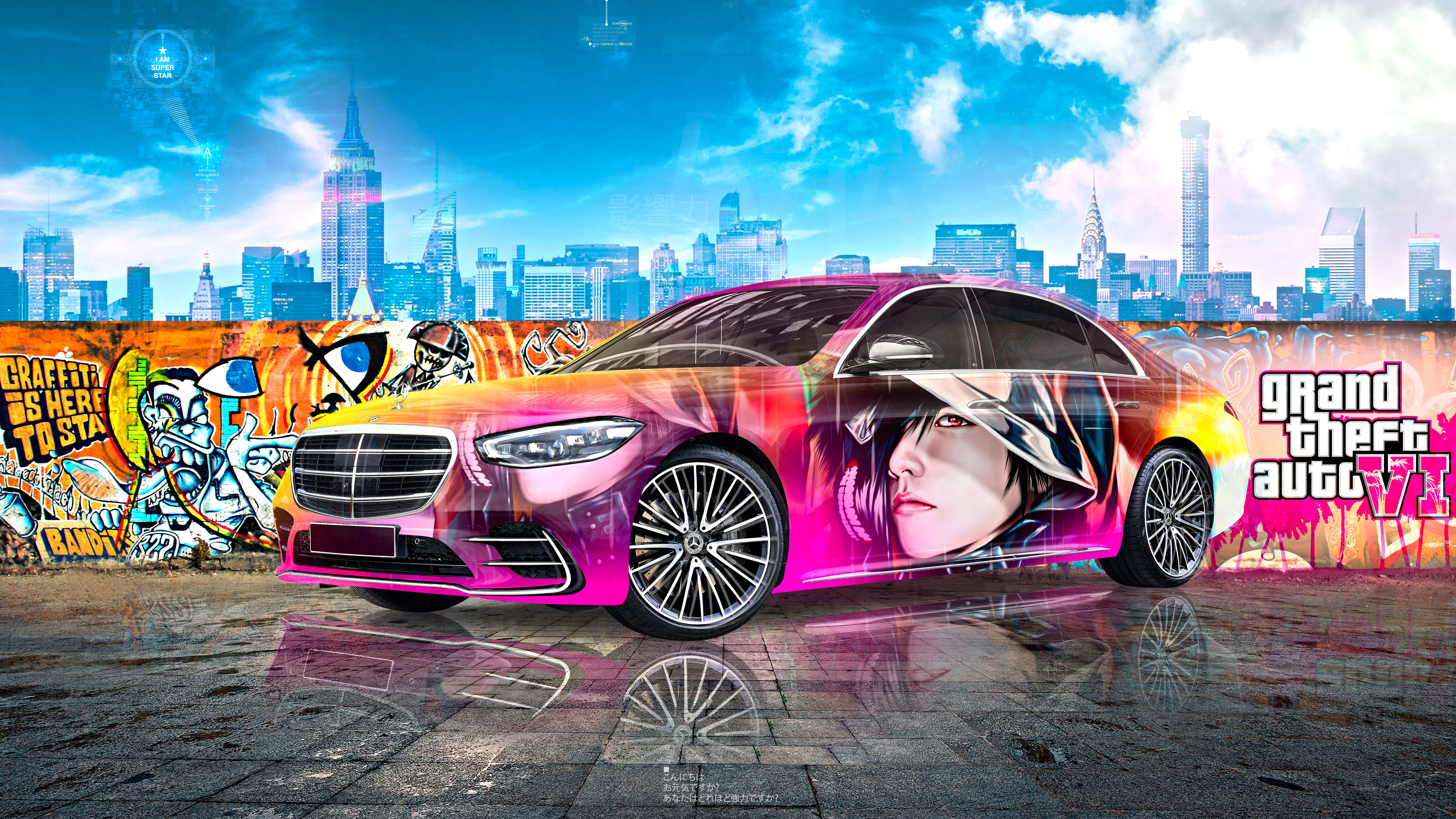 Mercedes-Benz-S-450-AMG-Super-Anime-Boy-Crystal-Influential-Soul-New-York-GTAVI-Artificial-Intelligence-Star-Car-2021-Multicolors-8K-Wallpapers-by-Tony-Kokhan-www.el-tony.com-image