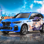 BMW X5 Protection VR6 Super Anime Girl Police NYPD Crystal Blue Soul GTAVI New York Artificial Intelligence Art Car 2021