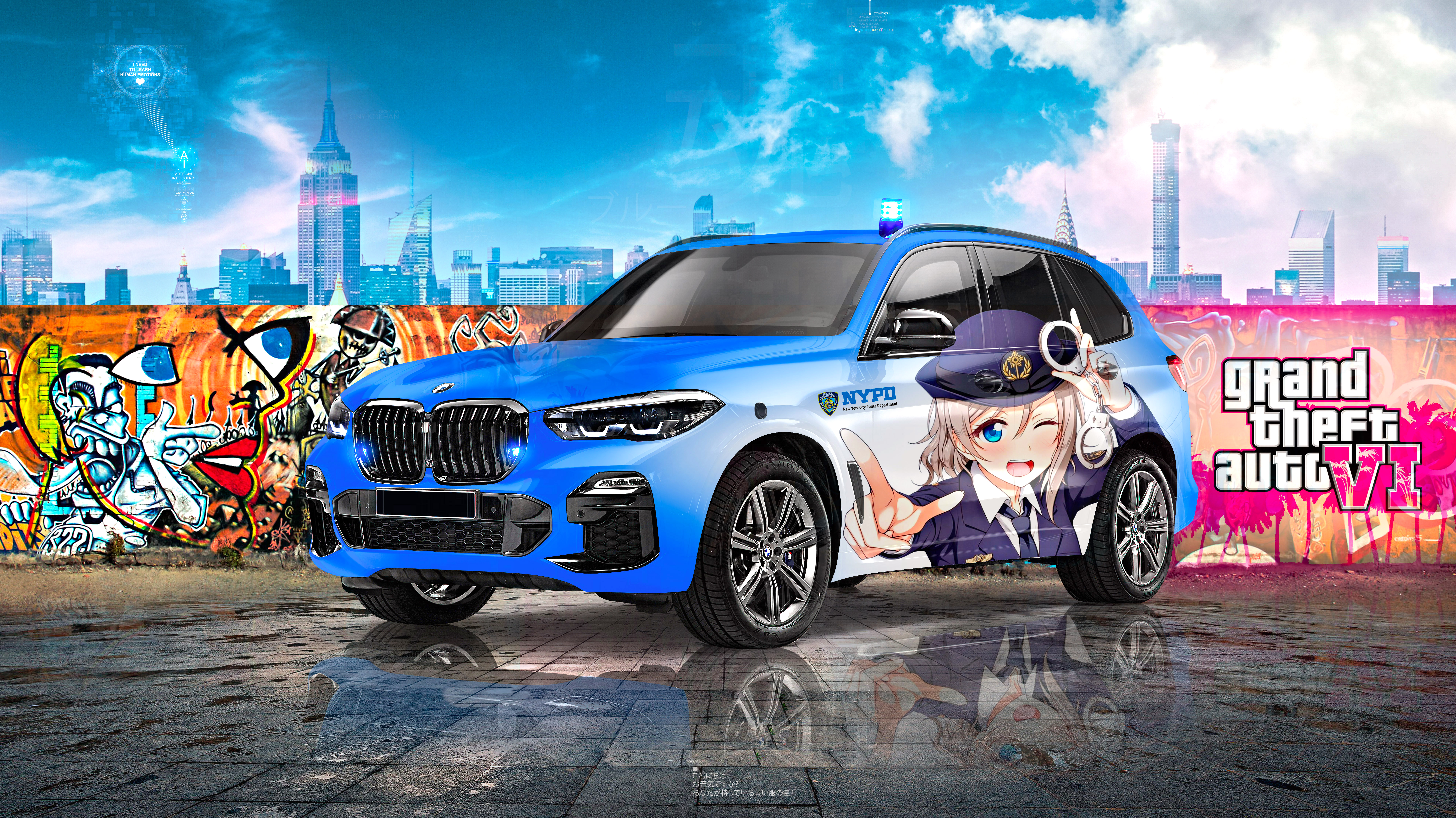 BMW-X5-Protection-VR6-Super-Anime-Girl-Police-NYPD-Crystal-Blue-Soul-GTAVI-New-York-Artificial-Intelligence-Art-Car-2021-Multicolors-8K-Wallpapers-by-Tony-Kokhan-www.el-tony.com-image