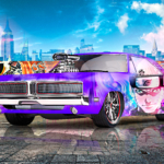 Dodge Charger 1969 Muscle Tuning Super Anime Naruto Crystal Violet Soul GTAVI New York Artificial Intelligence Car 2021