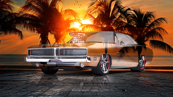 Dodge-Charger-1969-Muscle-Tuning-Super-Crystal-Passion-Soul-Sunset-Palm-Beach-Sea-Art-Car-2021-Multicolors-8K-Wallpapers-by-Tony-Kokhan-www.el-tony.com-image
